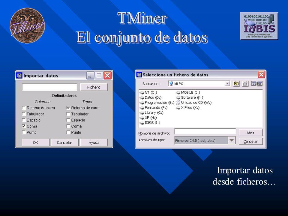 TMiner El conjunto de datos Importar datos desde ficheros…