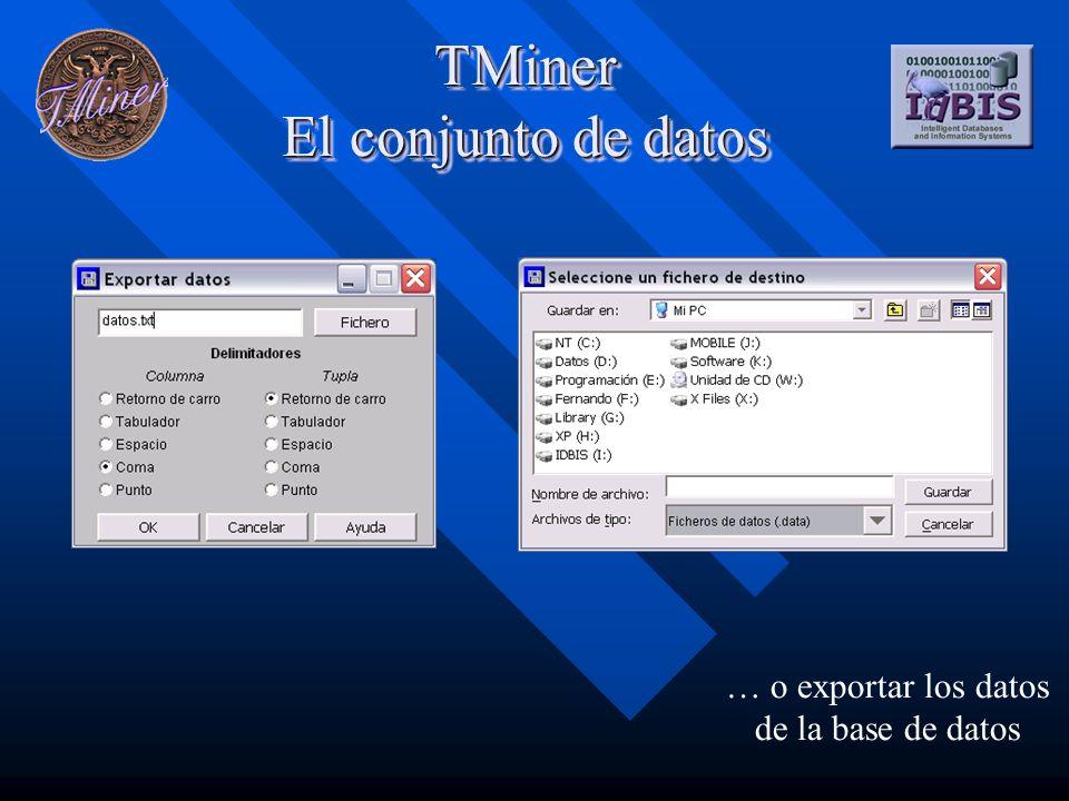TMiner El conjunto de datos … o exportar los datos de la base de datos