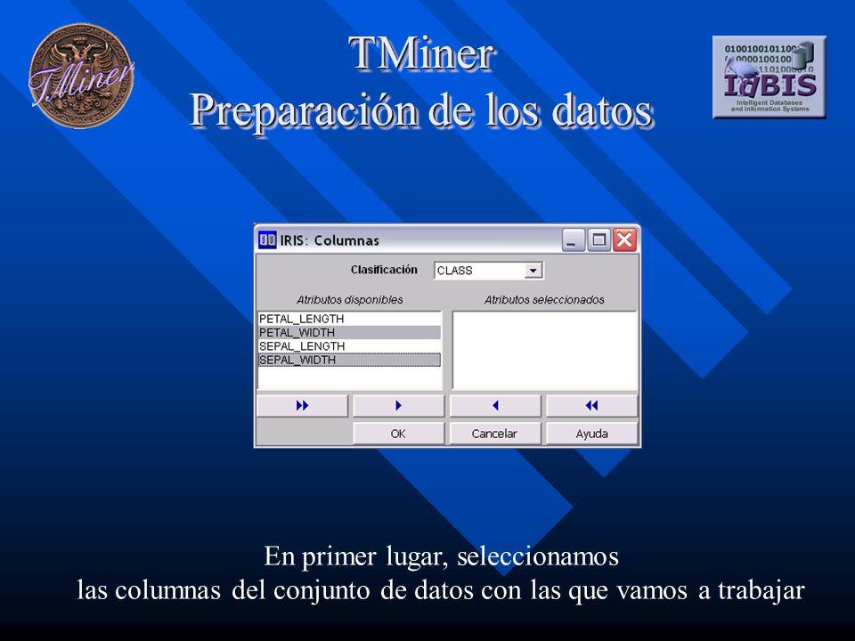 TMiner Preparación de los datos En primer lugar, seleccionamos las columnas del conjunto de datos con las que vamos a trabajar