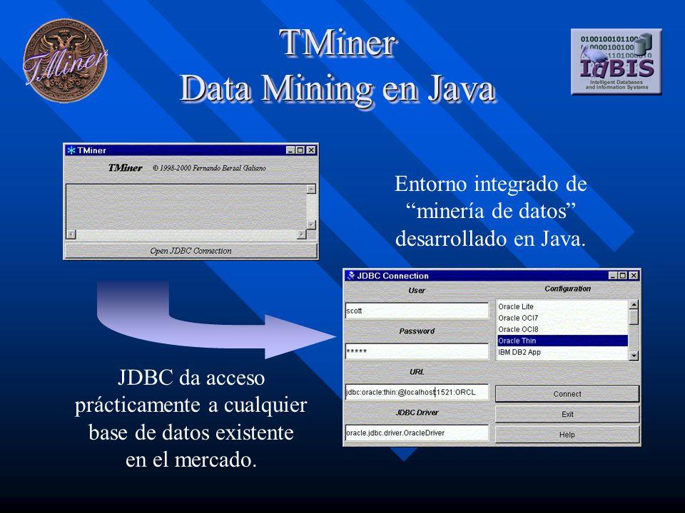 TMiner Data Mining en Java Entorno integrado de minería de datos desarrollado en Java. JDBC da acceso prácticamente a cualquier base de datos existent