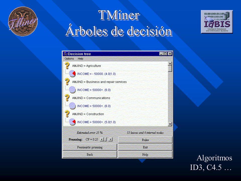 TMiner Árboles de decisión Algoritmos ID3, C4.5 …
