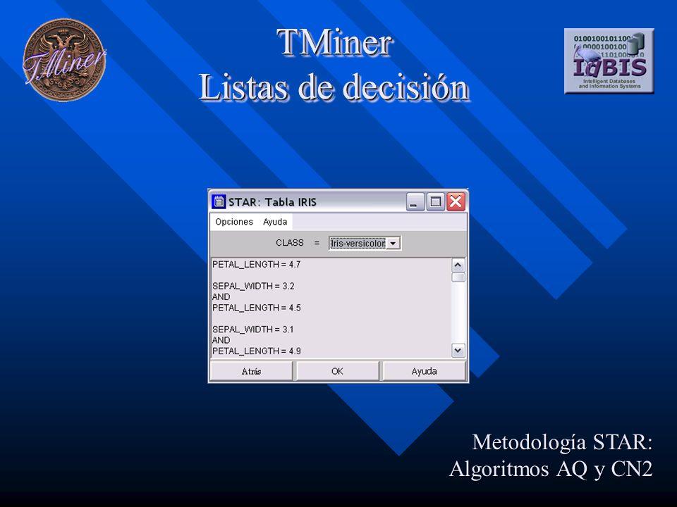 TMiner Listas de decisión Metodología STAR: Algoritmos AQ y CN2