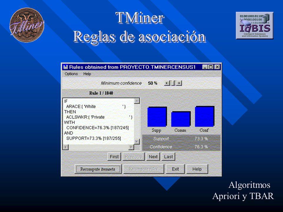 TMiner Reglas de asociación Algoritmos Apriori y TBAR