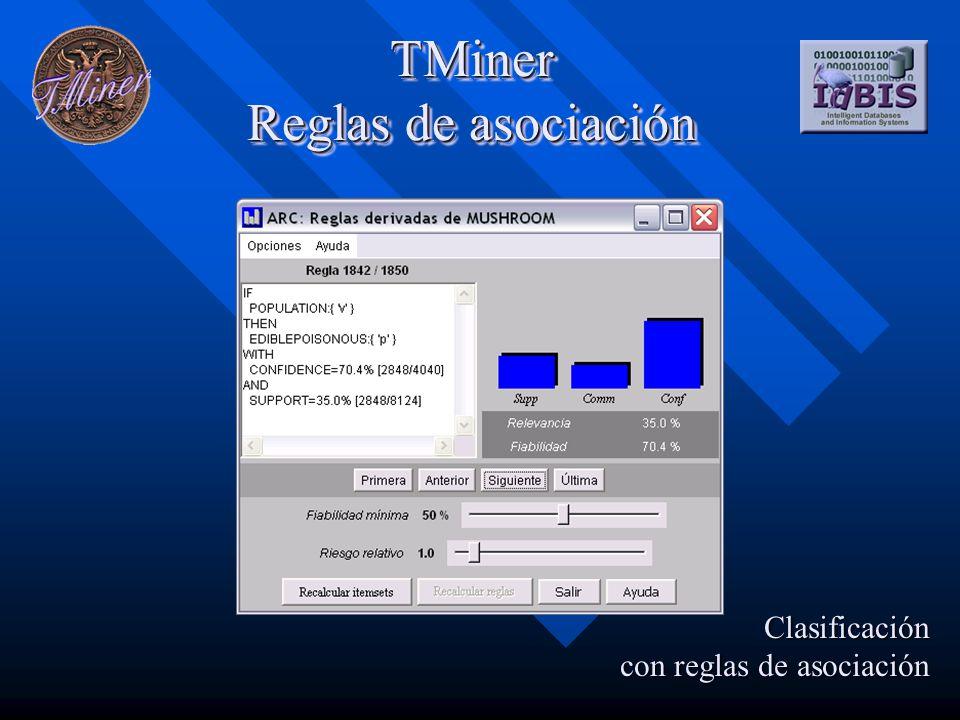 TMiner Reglas de asociación Clasificación con reglas de asociación