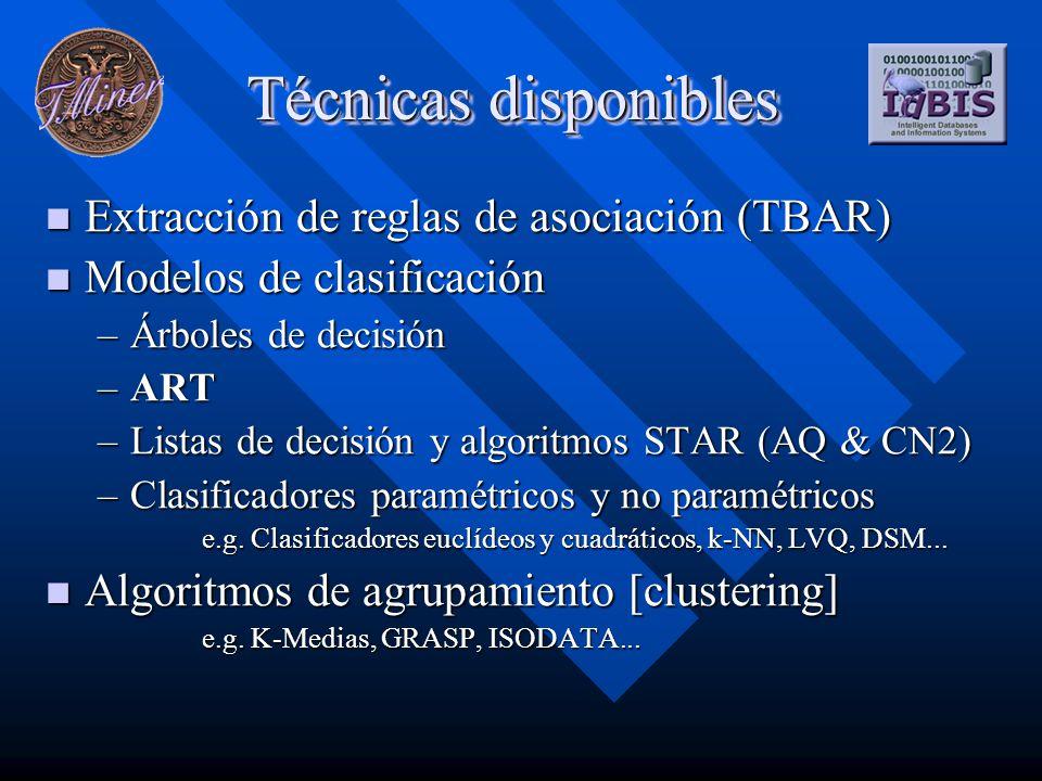 Técnicas disponibles Extracción de reglas de asociación (TBAR) Extracción de reglas de asociación (TBAR) Modelos de clasificación Modelos de clasificación –Árboles de decisión –ART –Listas de decisión y algoritmos STAR (AQ & CN2) –Clasificadores paramétricos y no paramétricos e.g.
