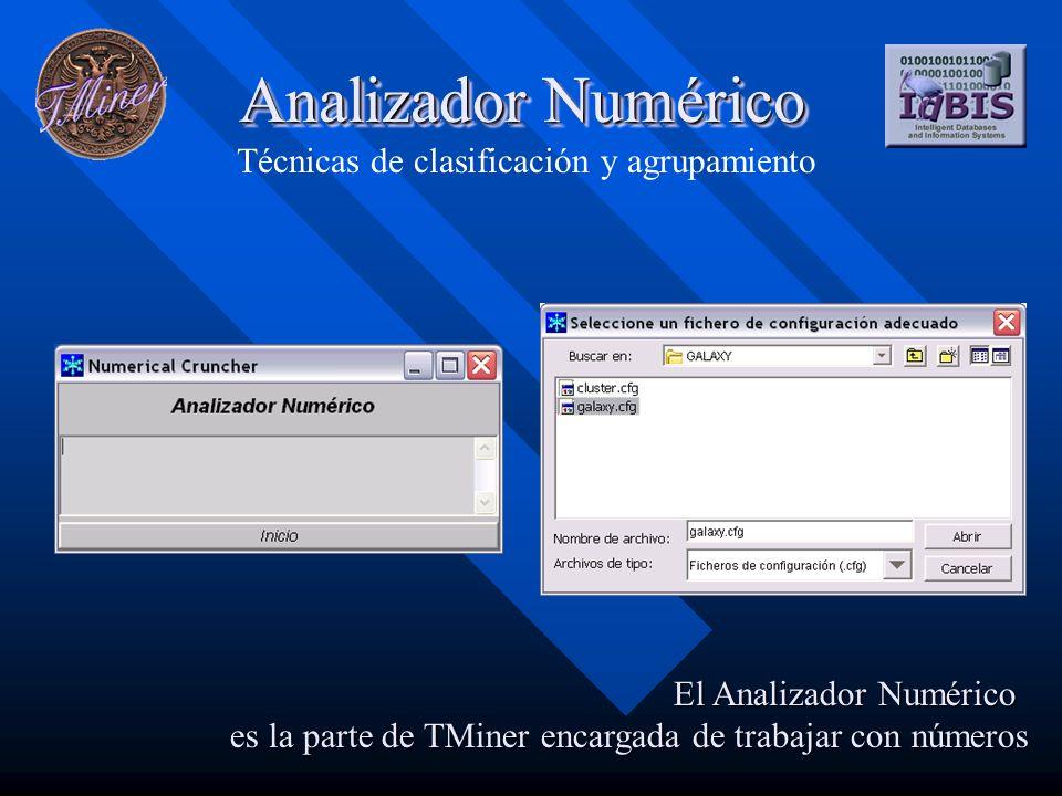 Analizador Numérico Técnicas de clasificación y agrupamiento El Analizador Numérico es la parte de TMiner encargada de trabajar con números