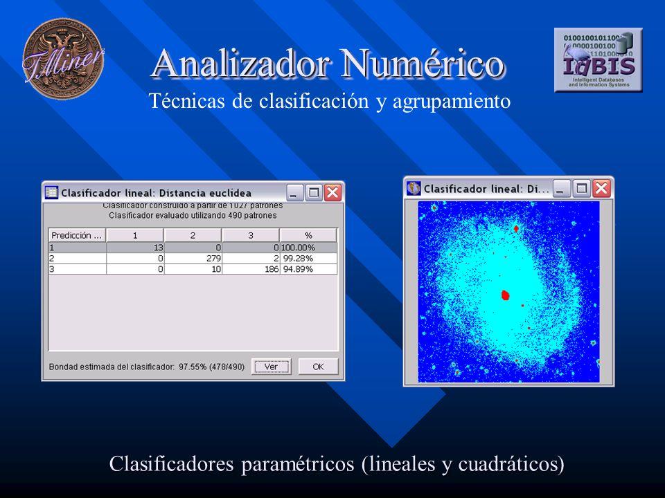 Analizador Numérico Técnicas de clasificación y agrupamiento Clasificadores paramétricos (lineales y cuadráticos)