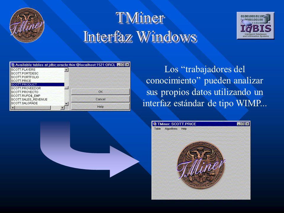 TMiner Interfaz Windows Los trabajadores del conocimiento pueden analizar sus propios datos utilizando un interfaz estándar de tipo WIMP...