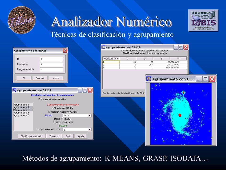 Analizador Numérico Técnicas de clasificación y agrupamiento Métodos de agrupamiento: K-MEANS, GRASP, ISODATA…