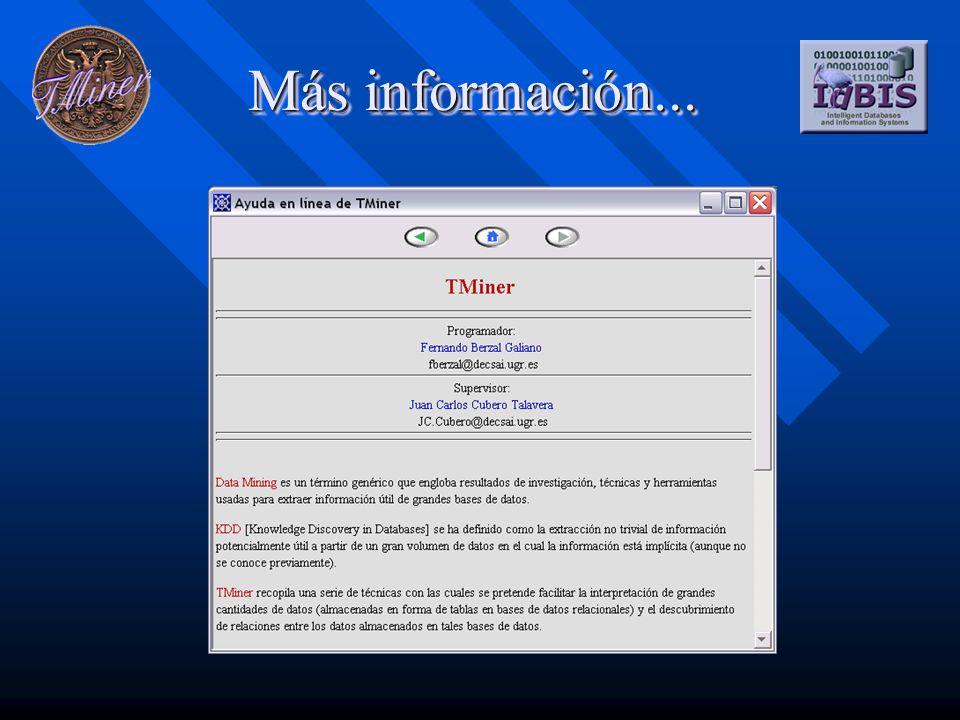 Más información... Fernando Berzal Galiano fberzal@decsai.ugr.es Juan Carlos Cubero Talavera jc.cubero@decsai.ugr.es