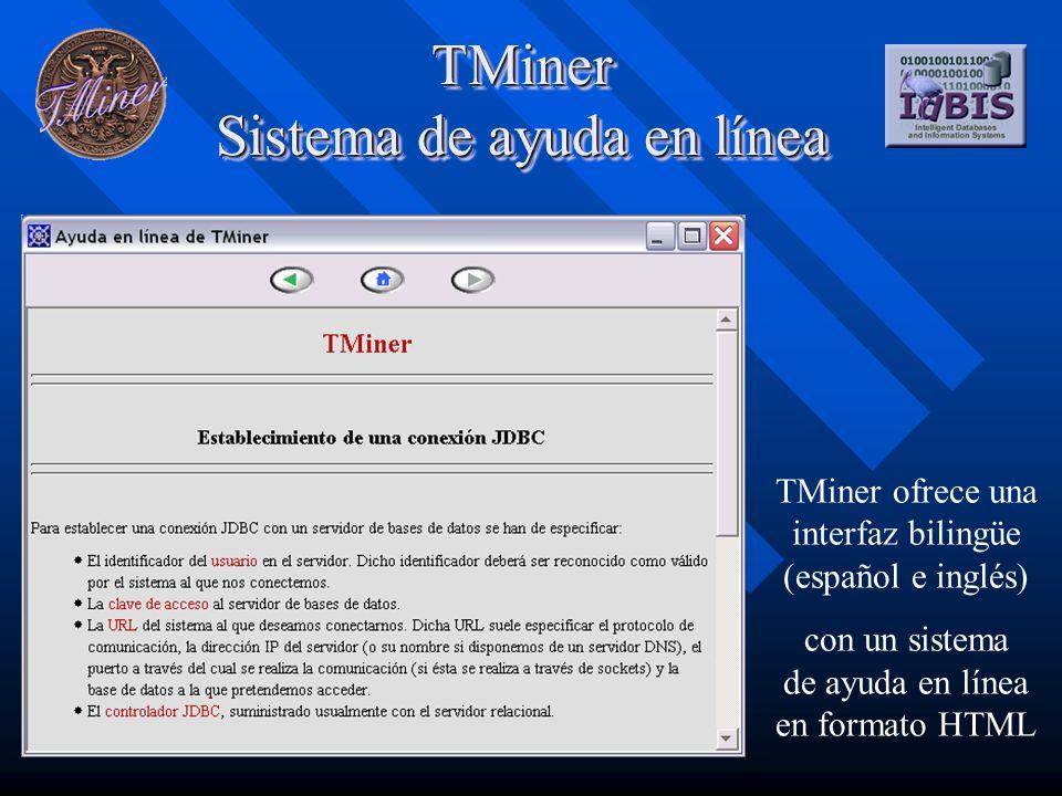 TMiner Sistema de ayuda en línea TMiner ofrece una interfaz bilingüe (español e inglés) con un sistema de ayuda en línea en formato HTML