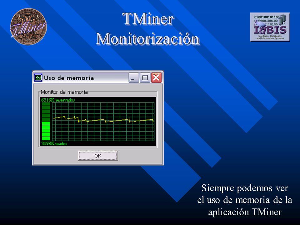 TMiner Monitorización Siempre podemos ver el uso de memoria de la aplicación TMiner