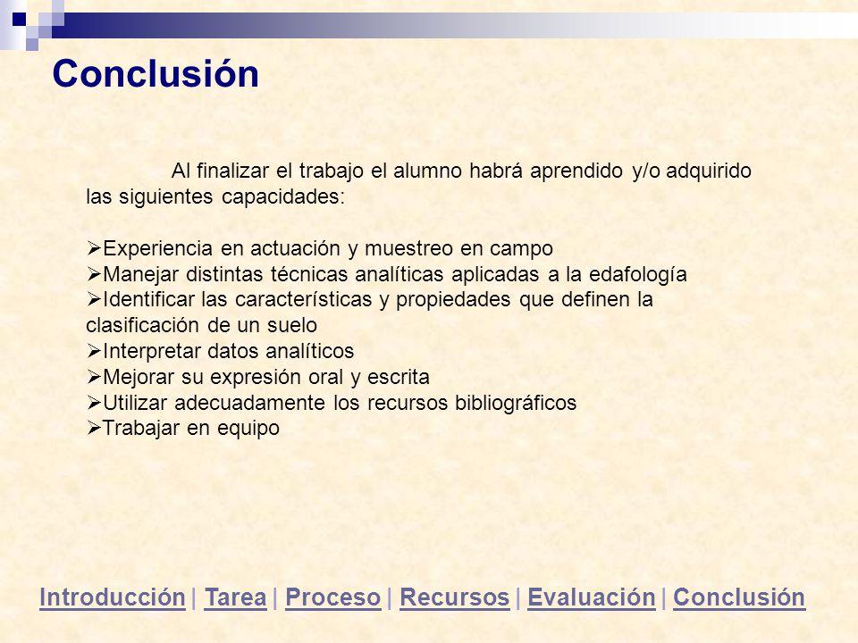 IntroducciónIntroducción | Tarea | Proceso | Recursos | Evaluación | ConclusiónTareaProcesoRecursosEvaluaciónConclusión Al finalizar el trabajo el alu