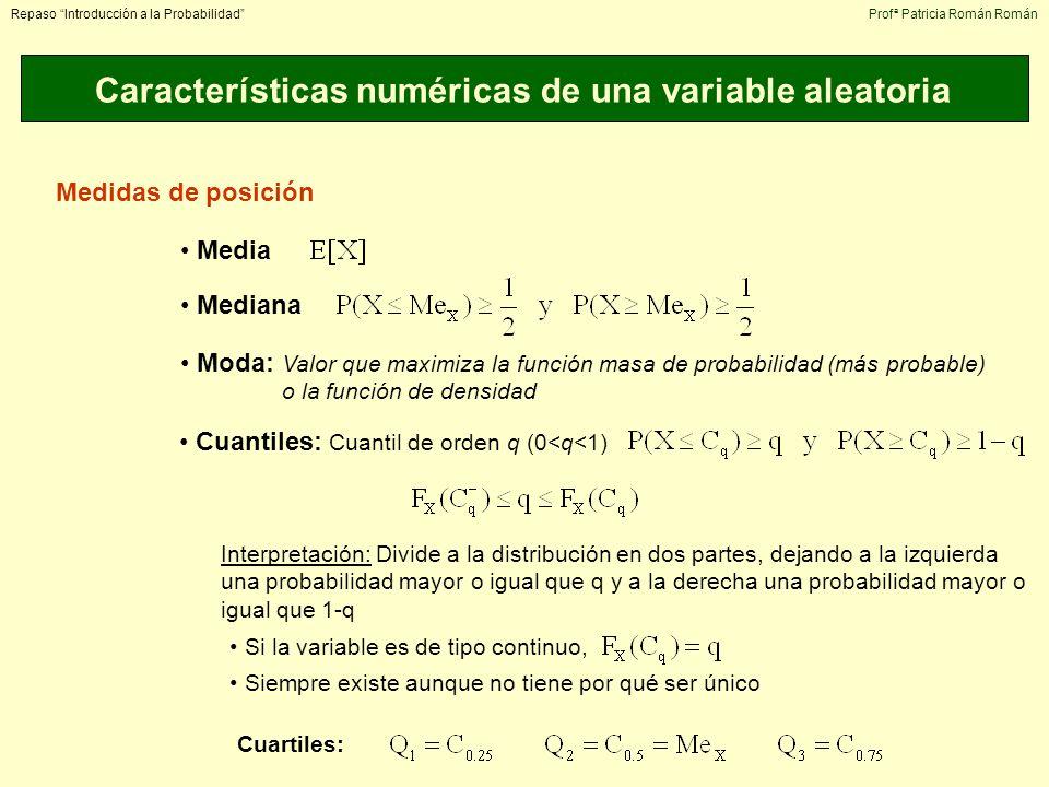 Características numéricas de una variable aleatoria Repaso Introducción a la ProbabilidadProfª Patricia Román Román Medidas de posición Media Mediana