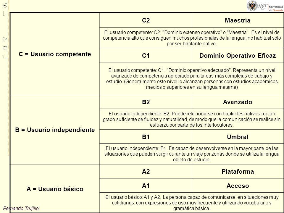 Fernando Trujillo ElPELElPEL C = Usuario competente C2Maestría El usuario competente: C2.