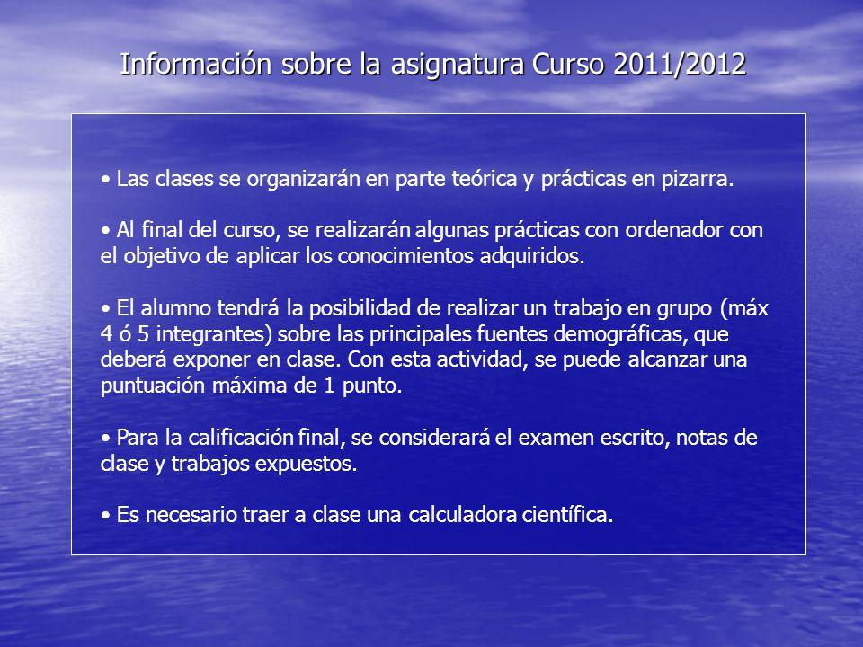 Información sobre la asignatura Curso 2011/2012 Las clases se organizarán en parte teórica y prácticas en pizarra.