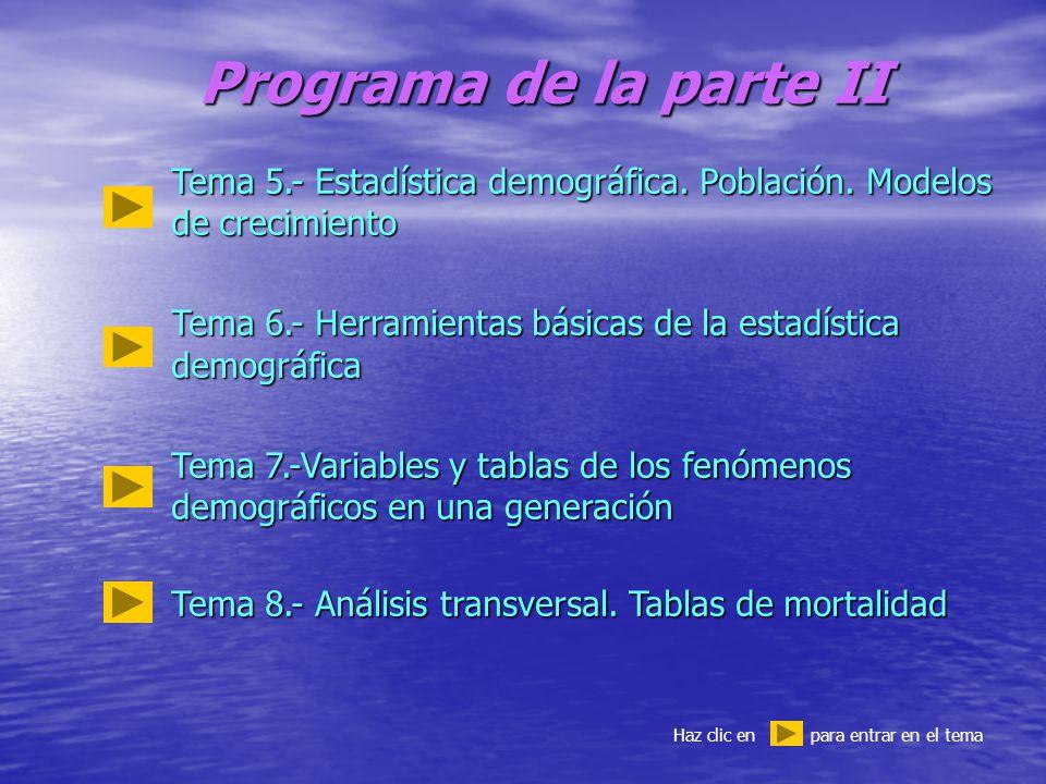Programa de la parte II Tema 5.- Estadística demográfica.