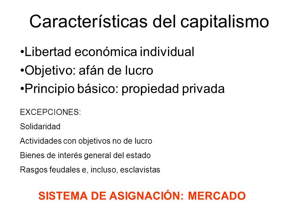 Características del capitalismo Libertad económica individual Objetivo: afán de lucro Principio básico: propiedad privada EXCEPCIONES: Solidaridad Act
