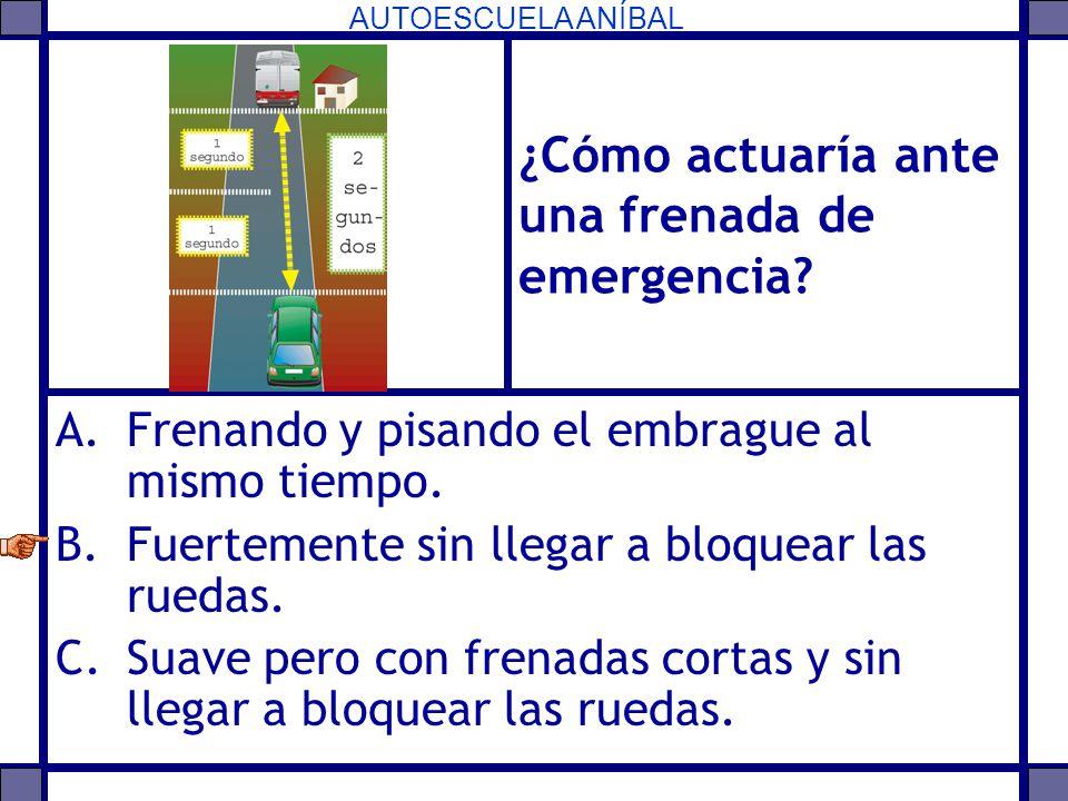 AUTOESCUELA ANÍBAL ¿Cómo actuaría ante una frenada de emergencia? A.Frenando y pisando el embrague al mismo tiempo. B.Fuertemente sin llegar a bloquea