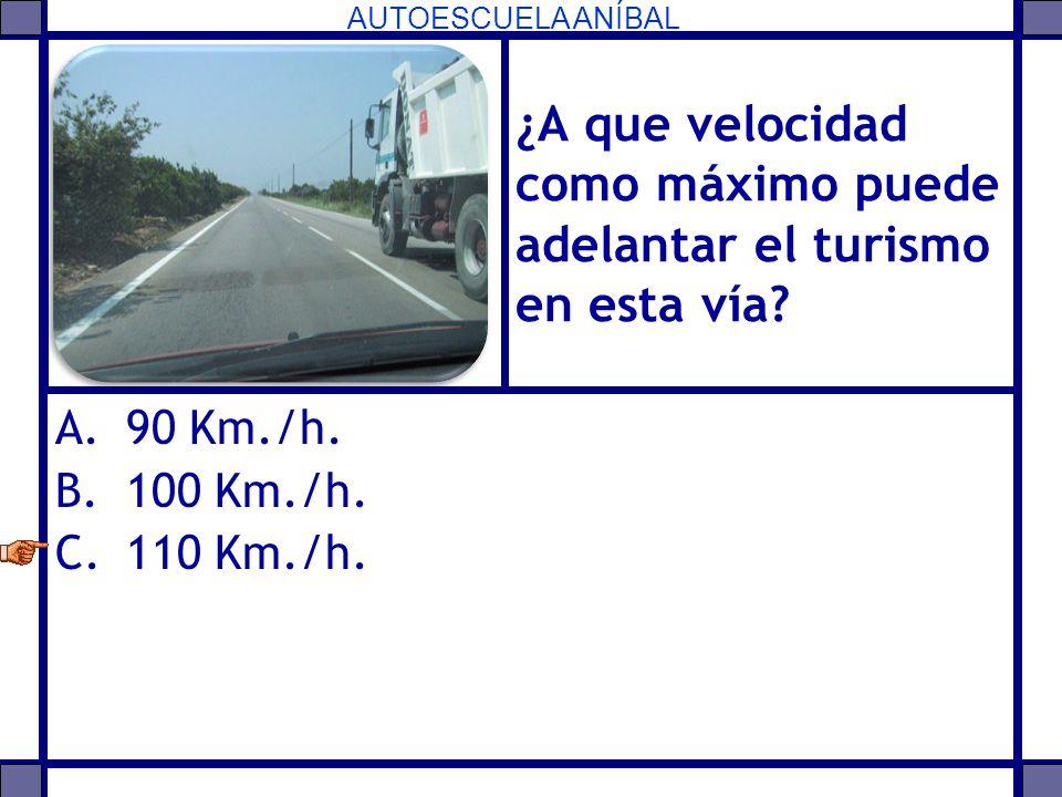 AUTOESCUELA ANÍBAL ¿A que velocidad como máximo puede adelantar el turismo en esta vía? A.90 Km./h. B.100 Km./h. C.110 Km./h.