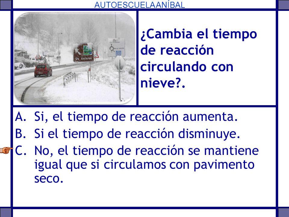 AUTOESCUELA ANÍBAL ¿Cambia el tiempo de reacción circulando con nieve?. A.Si, el tiempo de reacción aumenta. B.Si el tiempo de reacción disminuye. C.N