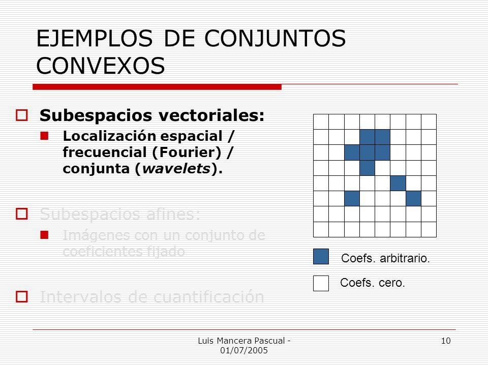 Luis Mancera Pascual - 01/07/2005 10 EJEMPLOS DE CONJUNTOS CONVEXOS Subespacios vectoriales: Localización espacial / frecuencial (Fourier) / conjunta