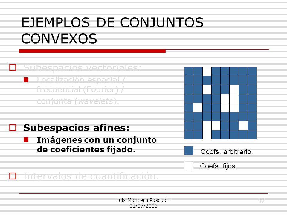 Luis Mancera Pascual - 01/07/2005 11 EJEMPLOS DE CONJUNTOS CONVEXOS Subespacios vectoriales: Localización espacial / frecuencial (Fourier) / conjunta
