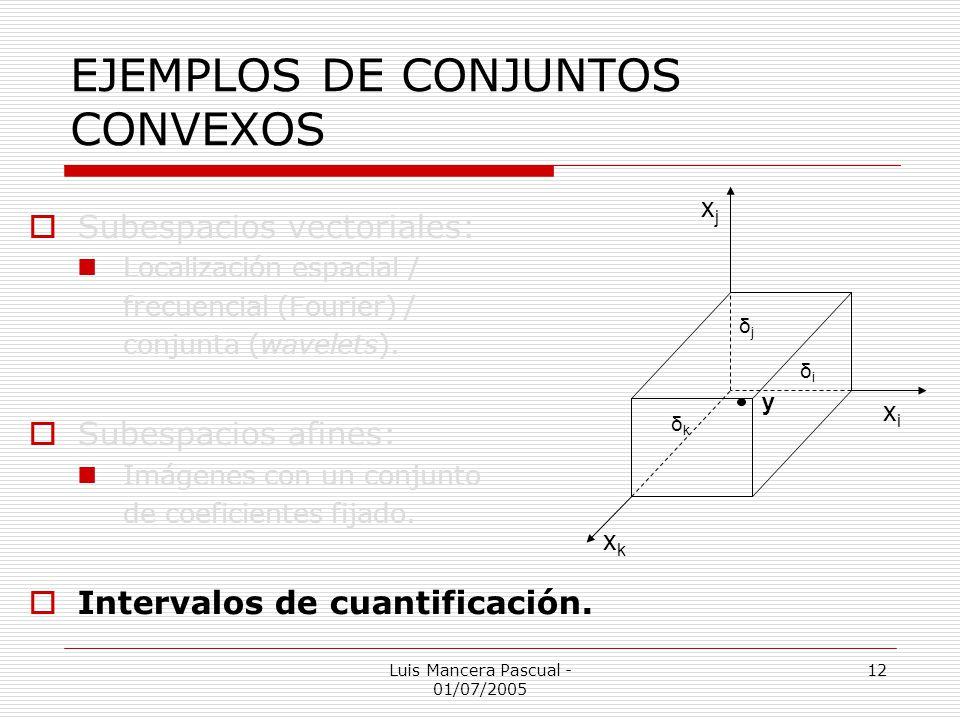 Luis Mancera Pascual - 01/07/2005 12 EJEMPLOS DE CONJUNTOS CONVEXOS Subespacios vectoriales: Localización espacial / frecuencial (Fourier) / conjunta