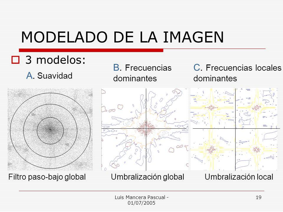 Luis Mancera Pascual - 01/07/2005 19 MODELADO DE LA IMAGEN Filtro paso-bajo globalUmbralización globalUmbralización local 3 modelos: A. Suavidad B. Fr