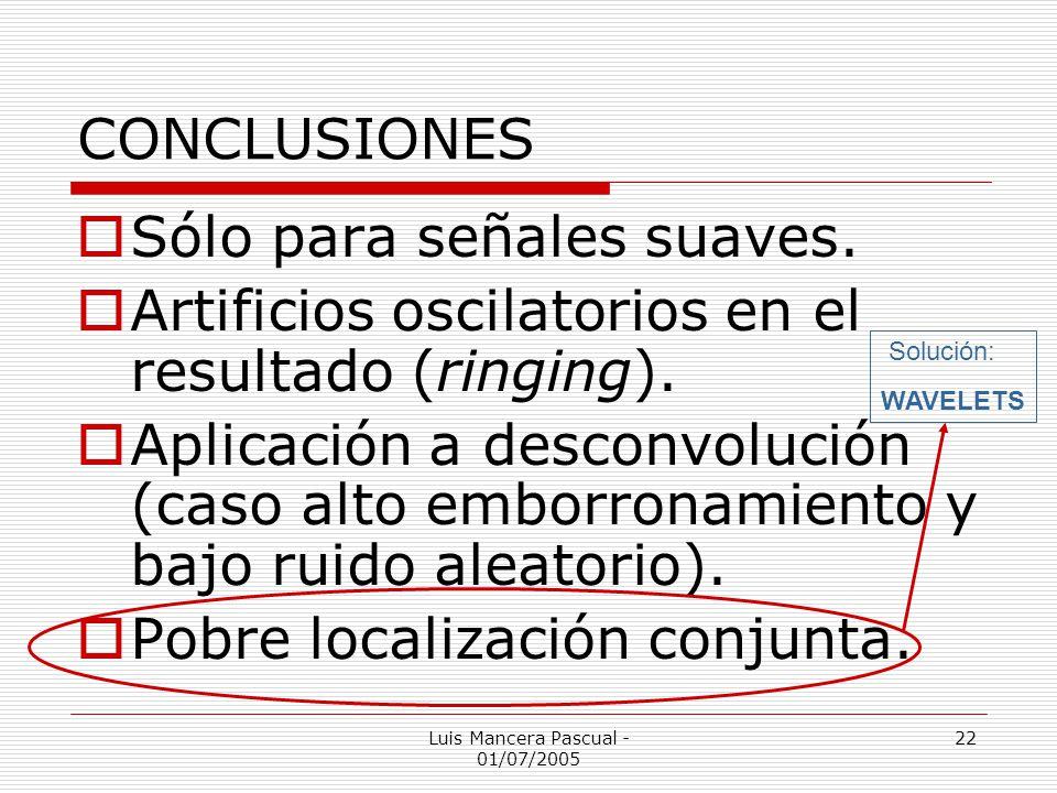 Luis Mancera Pascual - 01/07/2005 22 CONCLUSIONES Sólo para señales suaves. Artificios oscilatorios en el resultado (ringing). Aplicación a desconvolu