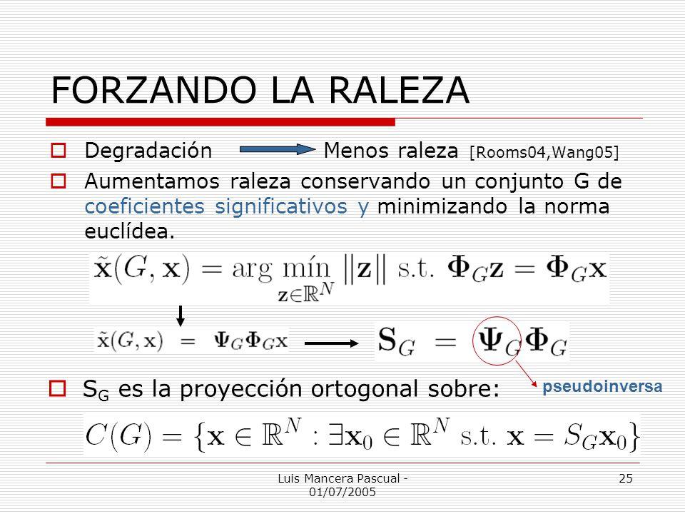 Luis Mancera Pascual - 01/07/2005 25 FORZANDO LA RALEZA DegradaciónMenos raleza [Rooms04,Wang05] Aumentamos raleza conservando un conjunto G de coefic
