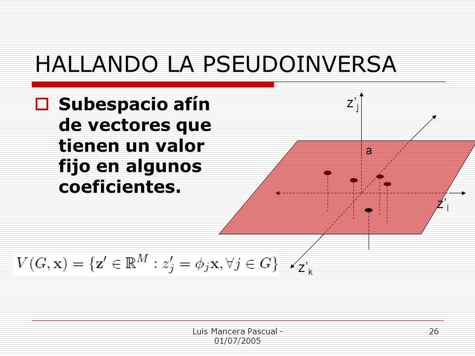 Luis Mancera Pascual - 01/07/2005 26 HALLANDO LA PSEUDOINVERSA Subespacio afín de vectores que tienen un valor fijo en algunos coeficientes. zizi zjzj