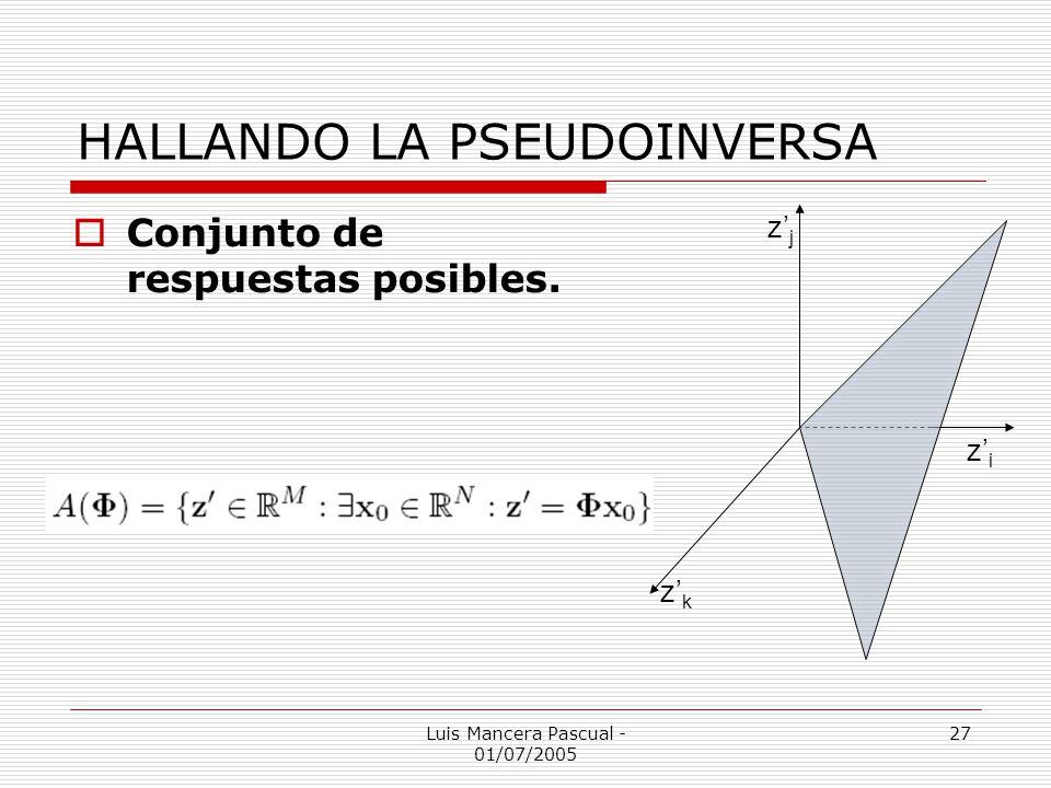 Luis Mancera Pascual - 01/07/2005 27 HALLANDO LA PSEUDOINVERSA Conjunto de respuestas posibles. zizi zjzj zkzk