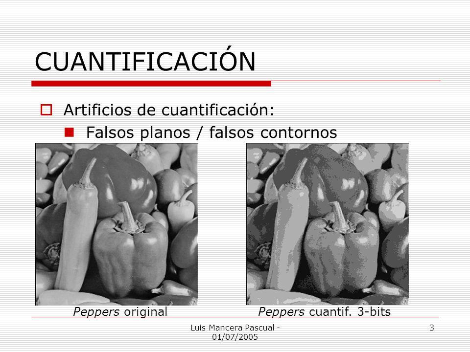 Luis Mancera Pascual - 01/07/2005 3 CUANTIFICACIÓN Artificios de cuantificación: Falsos planos / falsos contornos Peppers originalPeppers cuantif. 3-b