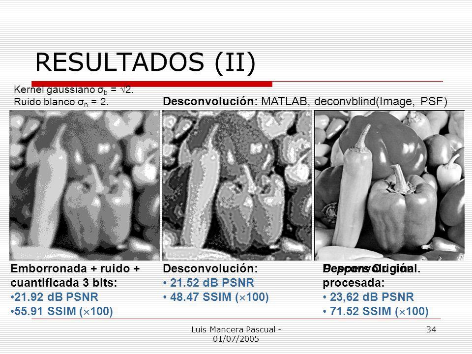 Luis Mancera Pascual - 01/07/2005 34 RESULTADOS (II) Desconvolución: 21.52 dB PSNR 48.47 SSIM ( 100) Desconvolución procesada: 23,62 dB PSNR 71.52 SSI