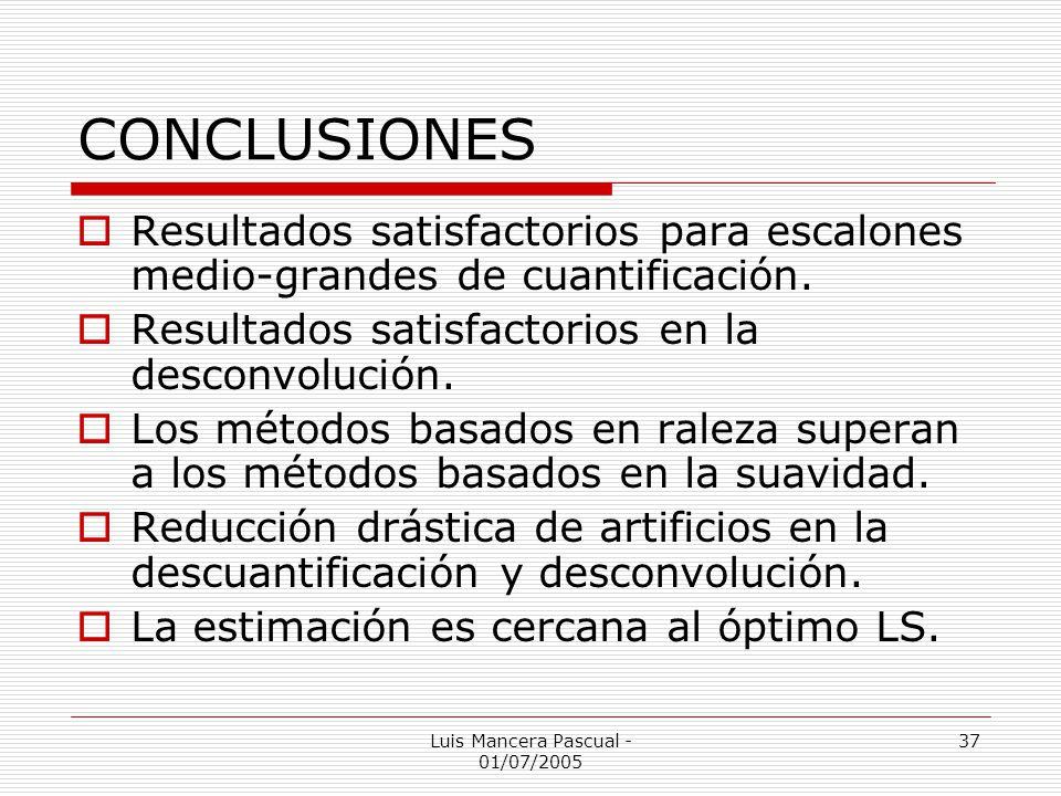 Luis Mancera Pascual - 01/07/2005 37 CONCLUSIONES Resultados satisfactorios para escalones medio-grandes de cuantificación. Resultados satisfactorios