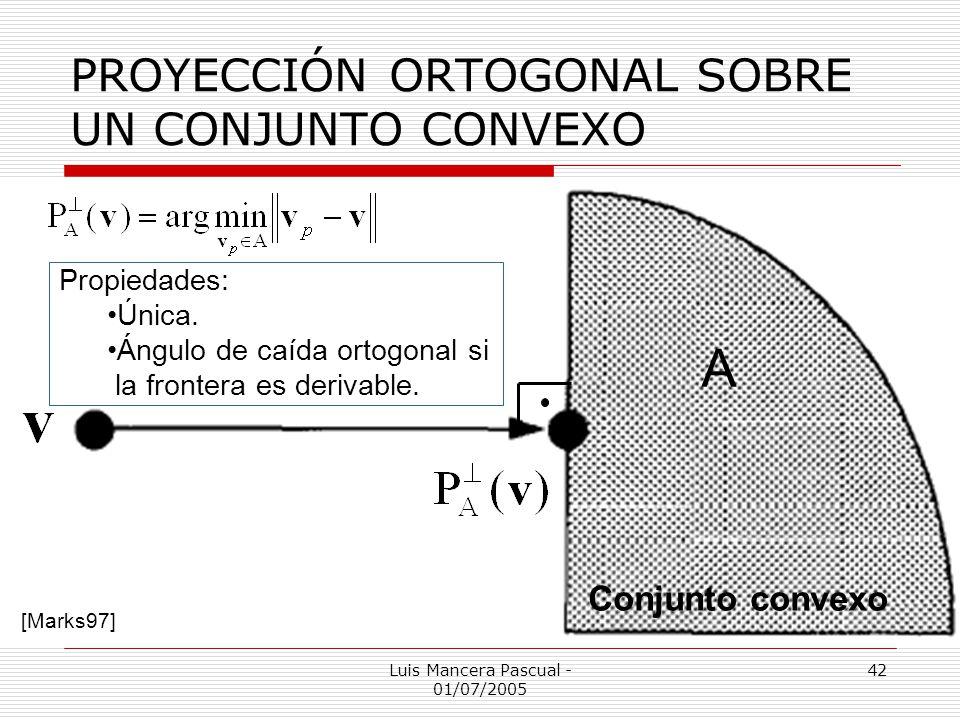 Luis Mancera Pascual - 01/07/2005 42 PROYECCIÓN ORTOGONAL SOBRE UN CONJUNTO CONVEXO [Marks97] Conjunto convexo A Propiedades: Única. Ángulo de caída o