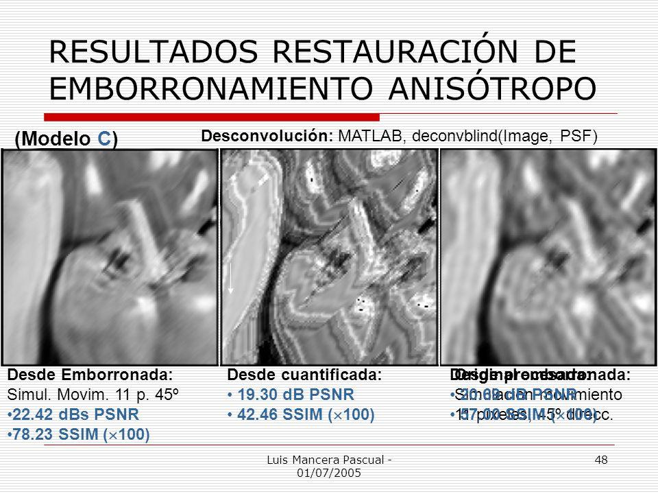 Luis Mancera Pascual - 01/07/2005 48 RESULTADOS RESTAURACIÓN DE EMBORRONAMIENTO ANISÓTROPO (Modelo C) Original emborronada: Simulación movimiento 11 p