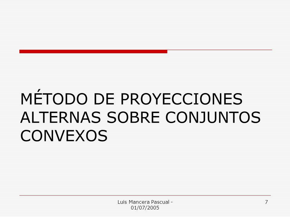 Luis Mancera Pascual - 01/07/2005 7 MÉTODO DE PROYECCIONES ALTERNAS SOBRE CONJUNTOS CONVEXOS