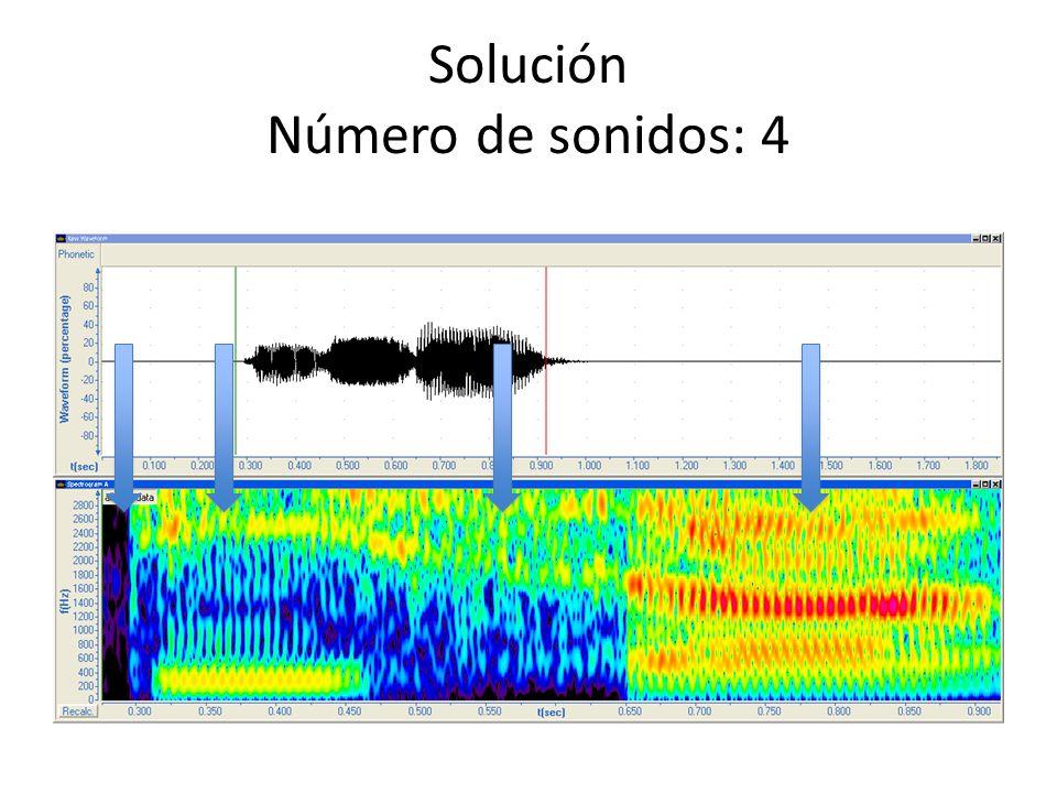 Solución Tipo de sonidos Primer sonido: consonante oclusiva sorda No hay frecuencia fundamental ni estructura alguna.