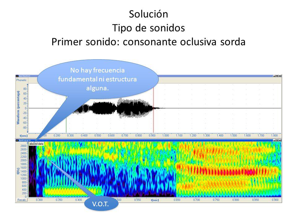 Solución Tipo de sonidos Segundo sonido: vocal cerrada 2º formante La distancia entre ambos marca claramente una vocal cerrada 2º formante La distancia entre ambos marca claramente una vocal cerrada 1er formante