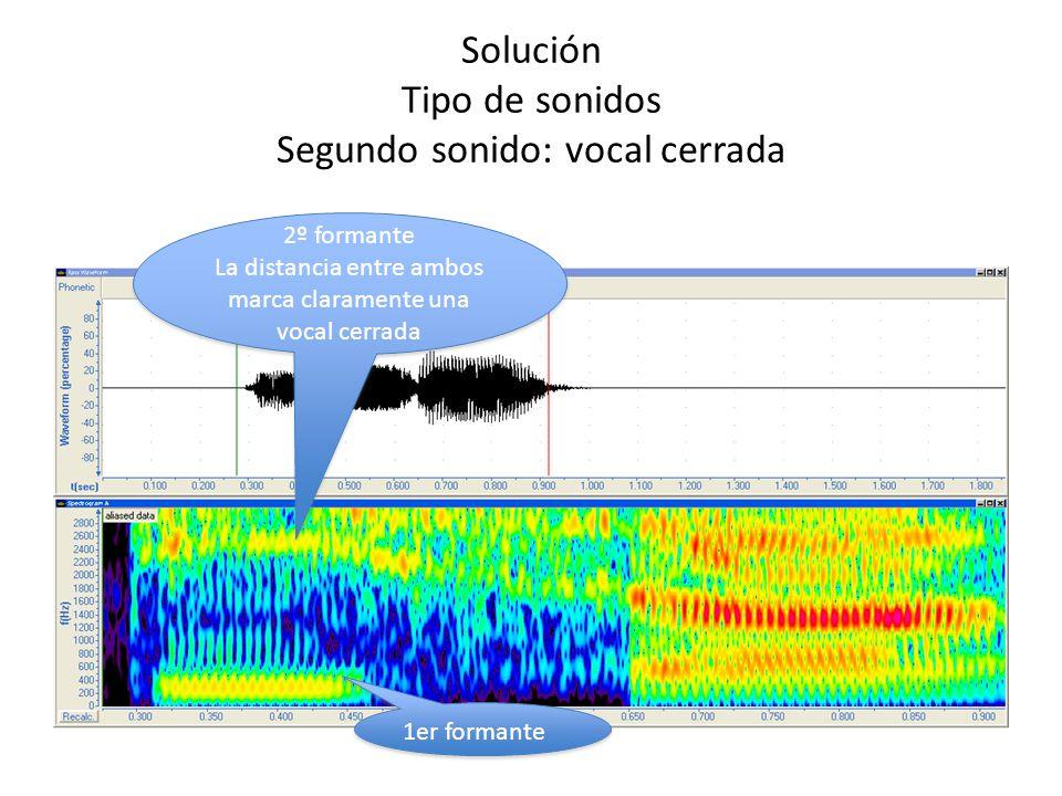 Solución Tipo de sonidos Segundo sonido: vocal cerrada 2º formante La distancia entre ambos marca claramente una vocal cerrada 2º formante La distanci