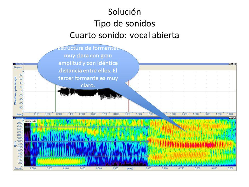 Solución Tipo de sonidos Cuarto sonido: vocal abierta Estructura de formantes muy clara con gran amplitud y con idéntica distancia entre ellos. El ter