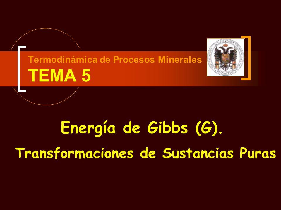 Tema 5 - Parte 1 – Energía de Gibbs – Dependencia de p y T Variación Isotérmica de G con la presión: Caso de los Gases Perfectos (II) Si la presión inicial es la presión estandar de 1 bar: La expresión se convierte en: ATENCIÓN Sólo válida en el caso en que la presión final se exprese en bars