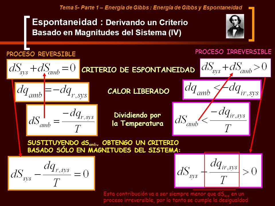 Tema 5- Parte 1 – Energía de Gibbs : Energía de Gibbs y Espontaneidad CRITERIO DE ESPONTANEIDAD PROCESO REVERSIBLE PROCESO IRREVERSIBLE CALOR LIBERADO