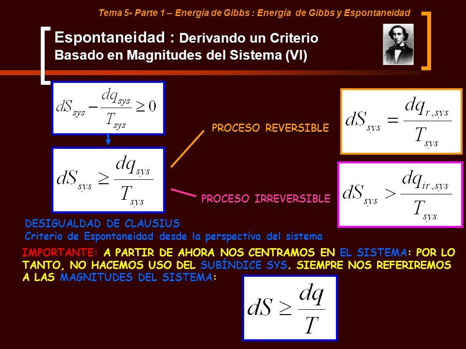 Tema 5- Parte 1 – Energía de Gibbs : Energía de Gibbs y Espontaneidad Espontaneidad : Derivando un Criterio Basado en Magnitudes del Sistema (VI) DESI