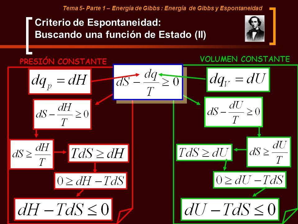 Tema 5- Parte 1 – Energía de Gibbs : Energía de Gibbs y Espontaneidad Criterio de Espontaneidad: Buscando una función de Estado (II) PRESIÓN CONSTANTE