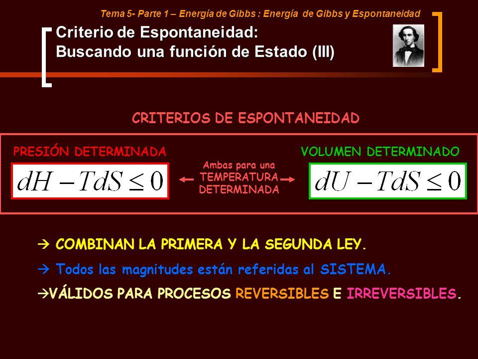 Tema 5- Parte 1 – Energía de Gibbs : Energía de Gibbs y Espontaneidad PRESIÓN DETERMINADAVOLUMEN DETERMINADO CRITERIOS DE ESPONTANEIDAD Ambas para una