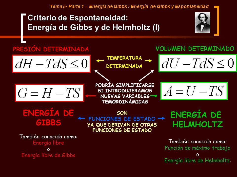 Tema 5- Parte 1 – Energía de Gibbs : Energía de Gibbs y Espontaneidad Criterio de Espontaneidad: Energía de Gibbs y de Helmholtz (I) PRESIÓN DETERMINA