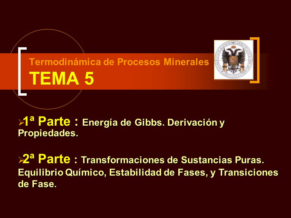 Termodinámica de Procesos Minerales TEMA 5 Energía de Gibbs. Derivación y Propiedades. 1ª Parte : Energía de Gibbs. Derivación y Propiedades. Transfor